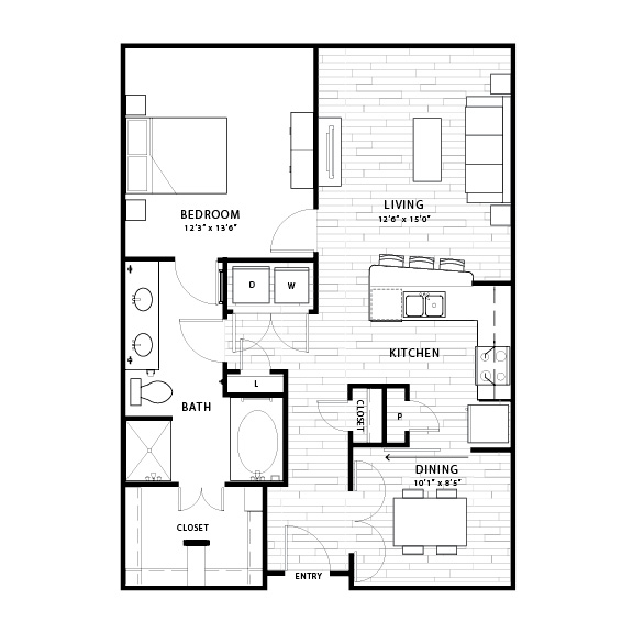 931 sq. ft. A4 floor plan