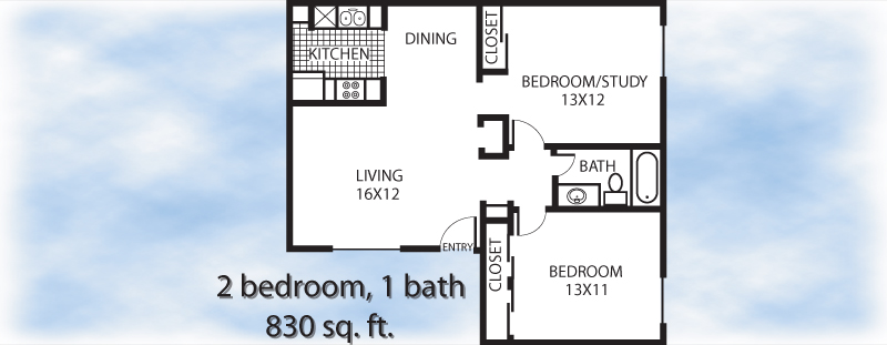 830 sq. ft. 2-1 floor plan