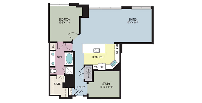 1,292 sq. ft. A5 floor plan