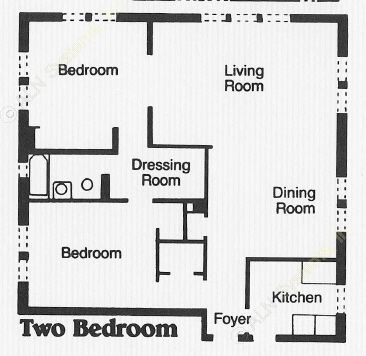 836 sq. ft. A3 floor plan