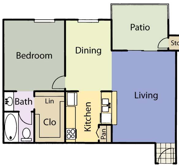 652 sq. ft. A2 floor plan
