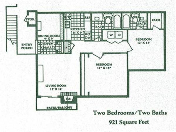 921 sq. ft. Applegate floor plan
