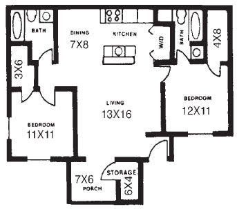 906 sq. ft. B floor plan