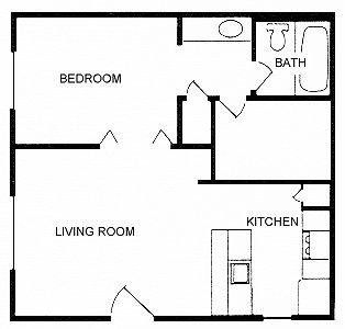 486 sq. ft. to 511 sq. ft. BACHELOR floor plan