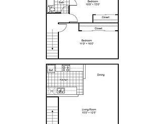 725 sq. ft. floor plan