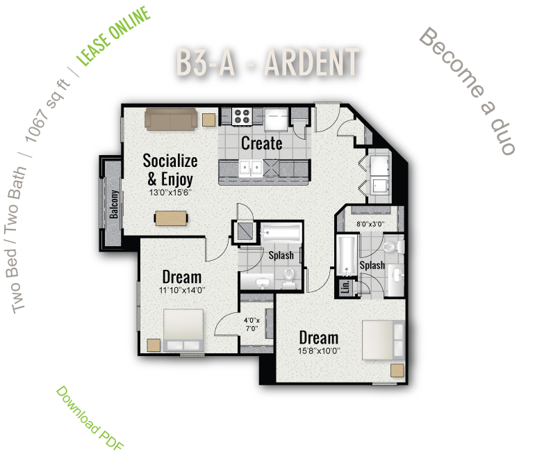 1,067 sq. ft. B3-A floor plan