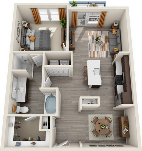 898 sq. ft. A2.3 floor plan
