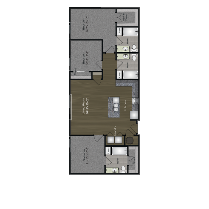 1,212 sq. ft. Moon Tower floor plan