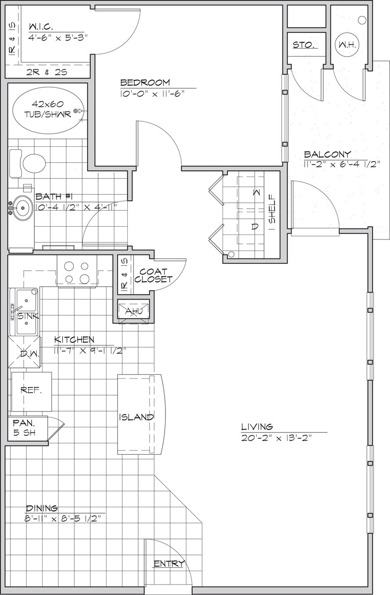 789 sq. ft. PERADOS 60% floor plan