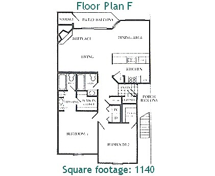1,140 sq. ft. F floor plan