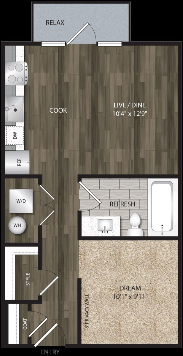 540 sq. ft. E1 floor plan