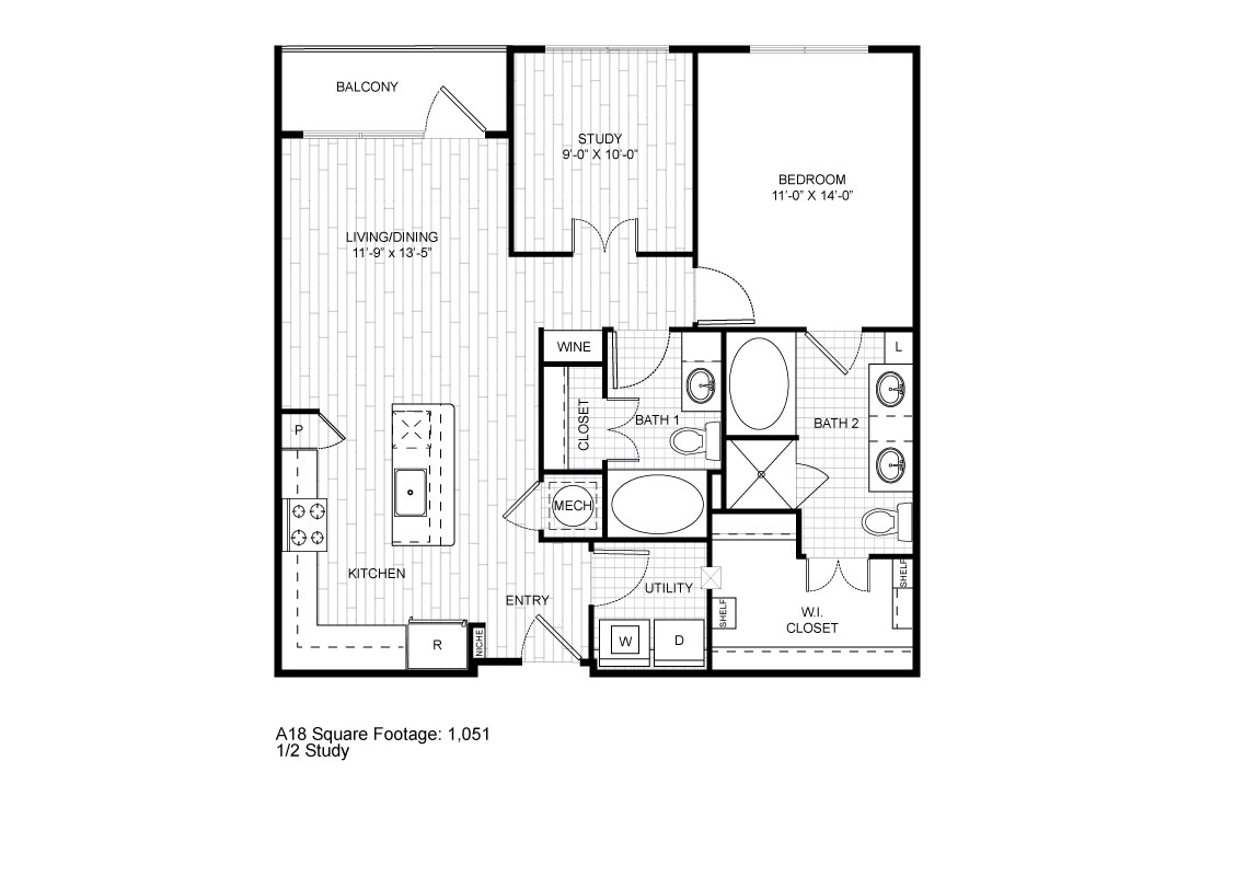 1,051 sq. ft. A18 floor plan