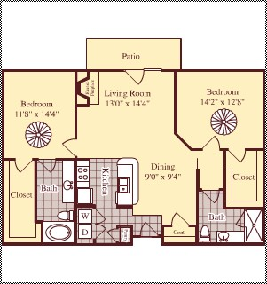 1,216 sq. ft. B1 floor plan