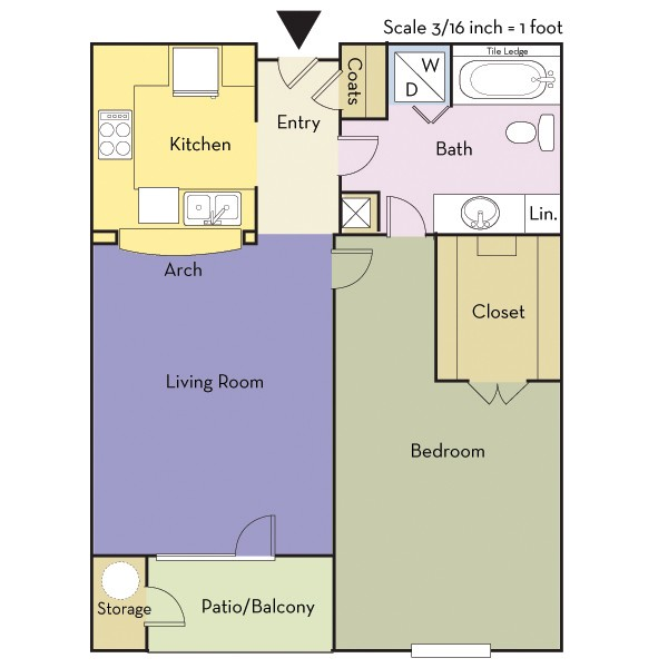 696 sq. ft. A1A/Cole floor plan