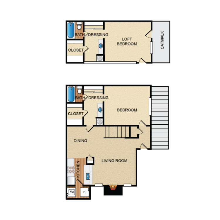 1,105 sq. ft. B3 floor plan