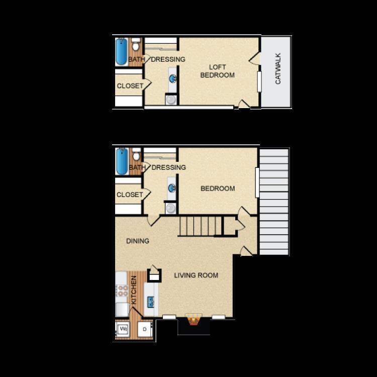 1,105 sq. ft. B3 floor plan