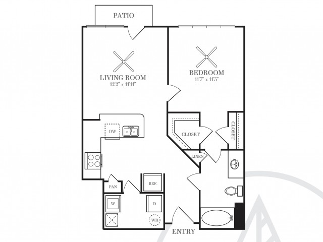 696 sq. ft. A2A-HC floor plan