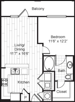 672 sq. ft. 11F1 floor plan