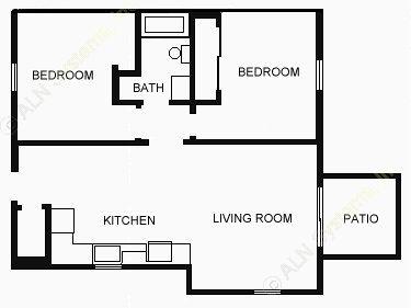 775 sq. ft. 60% floor plan
