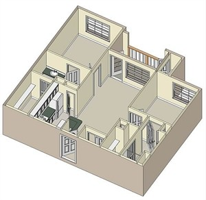 947 sq. ft. MKT floor plan