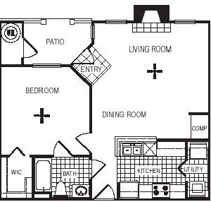 717 sq. ft. A1G floor plan