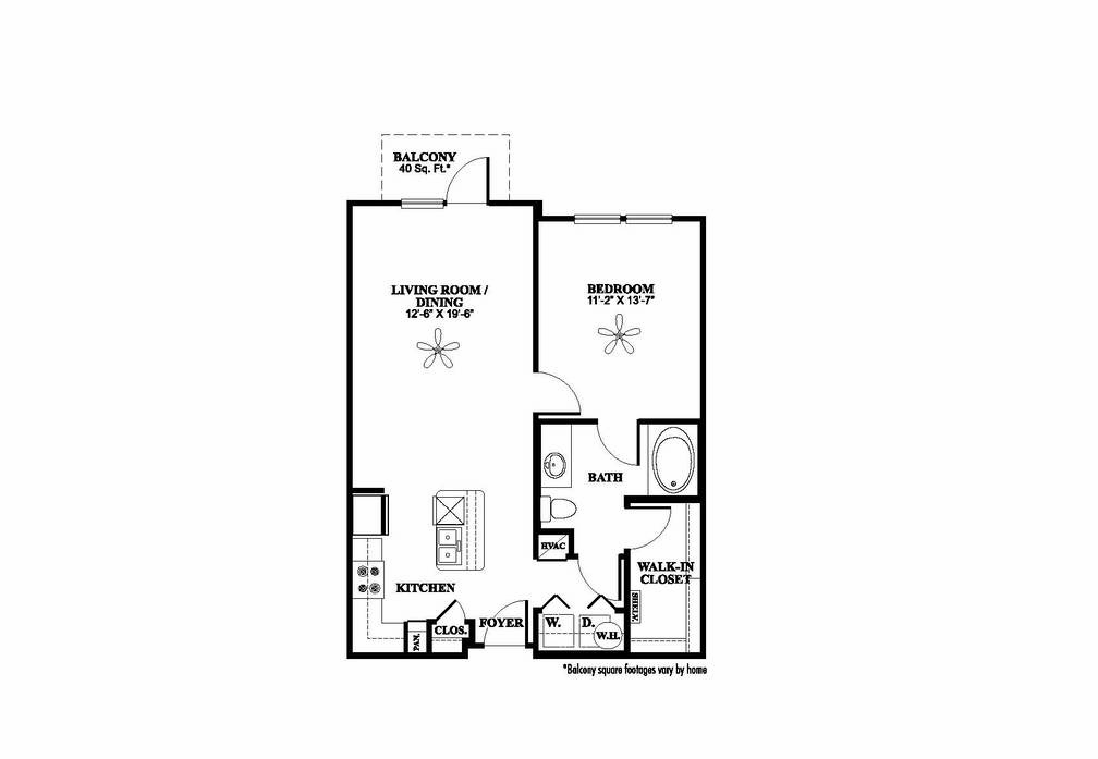766 sq. ft. A1.1 floor plan