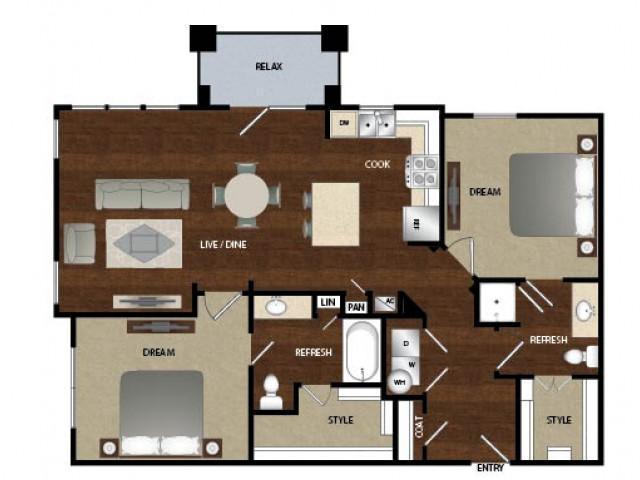 1,180 sq. ft. B2 floor plan