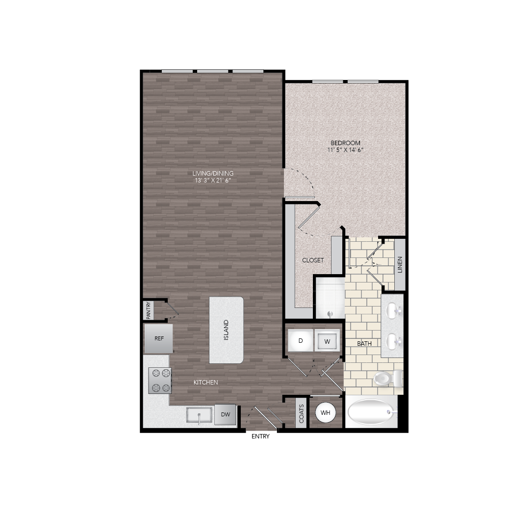 897 sq. ft. A4A floor plan