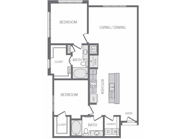 1,252 sq. ft. to 1,288 sq. ft. B8 floor plan