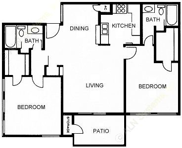 985 sq. ft. E floor plan
