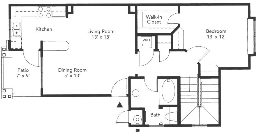 695 sq. ft. Belmont floor plan