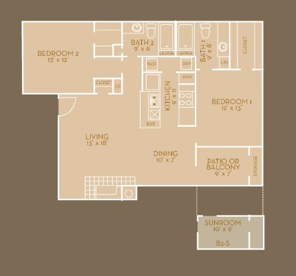 1,102 sq. ft. B4 floor plan