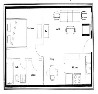 620 sq. ft. A floor plan