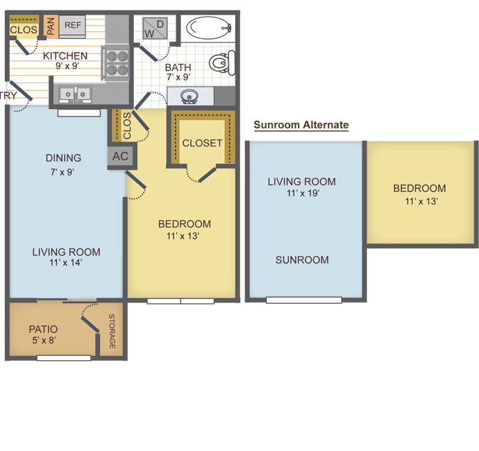 658 sq. ft. 1C floor plan