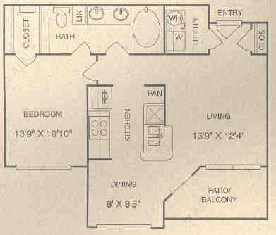 744 sq. ft. BG floor plan