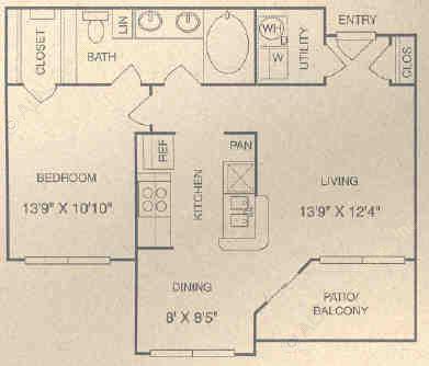 744 sq. ft. BG floor plan