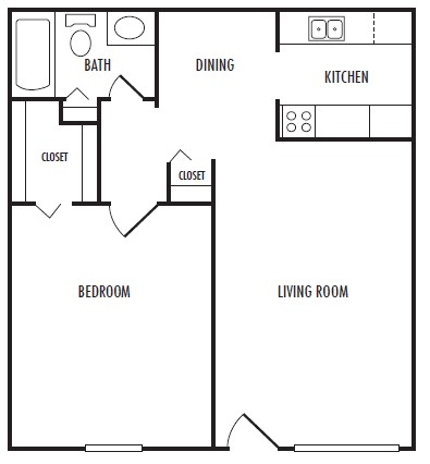 615 sq. ft. floor plan