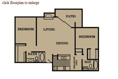 1,043 sq. ft. floor plan