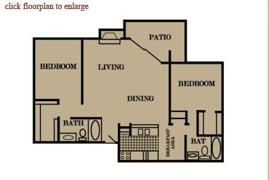 1,043 sq. ft. floor plan