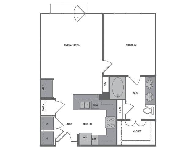 802 sq. ft. E floor plan