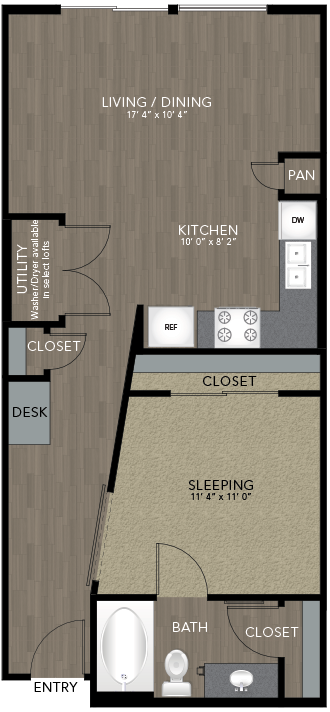 695 sq. ft. Intown Housing floor plan