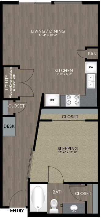 695 sq. ft. Intown Housing floor plan