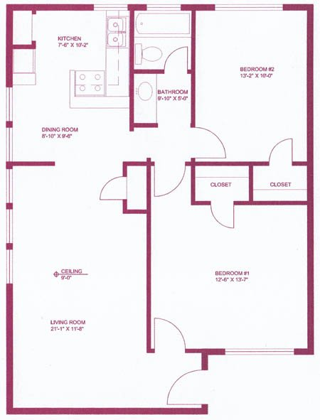 983 sq. ft. B4 floor plan