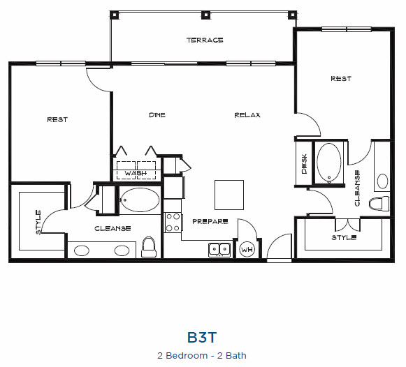 1,324 sq. ft. B3t floor plan