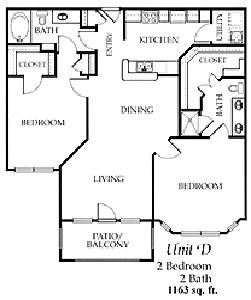 1,163 sq. ft. D floor plan