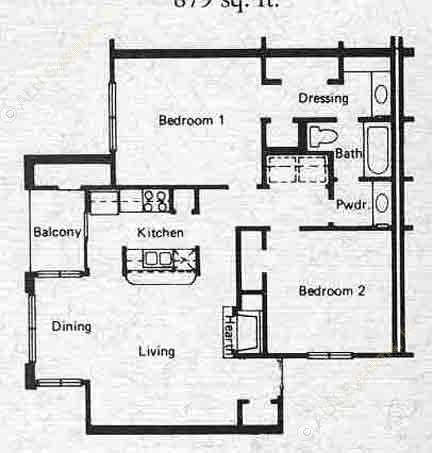 879 sq. ft. B1 floor plan