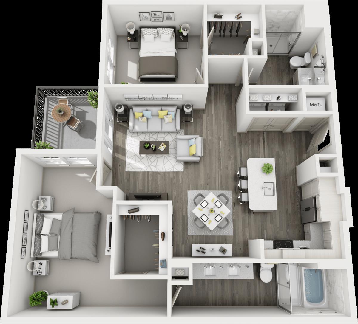 1,270 sq. ft. B4 floor plan