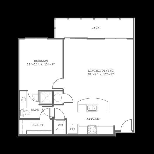 826 sq. ft. A9 floor plan