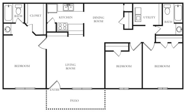 1,200 sq. ft. to 1,221 sq. ft. K floor plan