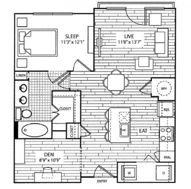 836 sq. ft. A4 floor plan